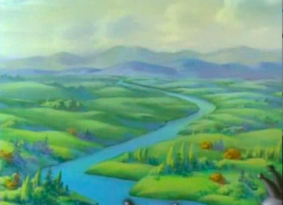 Just one of the many picturesque sets, a wide departure from the house sets of the original shorts.